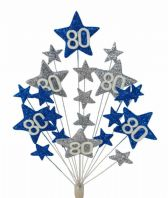 Star age 80th birthday cake topper decoration in laser and silver - free postage